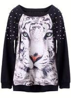 Женские толстовки и Кофты 2013 New Fashion Women's Hoodies Black Tiger Face Animal Print Rivets Casual Sweatshirt, xxxl High Quality
