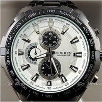 Наручные часы 1PCS NEW HOURS CLOCK LUXURY SPORT MEN FASHION WHITE BLACK STEEL WRIST WATCH