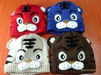 Шапка для мальчиков Baby Cartoon Tiger Hat Children's Knitted Warm Hat Girl Crochet Cap, 10pcs/lot