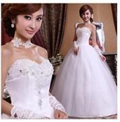 Мода сладкий цветок невеста принцесса свадебное платье с бисером и пайетками
