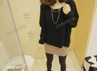 Женский пуловер Batwing Round Neck Pullover Jumper Bottoming Shirt Ladies Casual Loose Short Sweater 9243