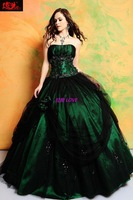 Hot On Sale Free Shipping New Design beading with jacket black lace custom made dark green Ball Gown Quinceanera Dresses
