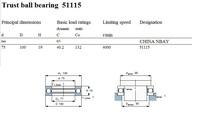 Упорный шариковый подшипник 51115 Trust ball bearing 8115