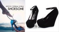 Туфли на высоком каблуке vintage High with a wedge heel suede belt buckle Round Waterproof high heels shoes