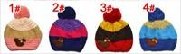 Шапка для девочек New Style! Fashin Children Knitting Hat Warm Winter Woolen Yarn Kid Cap Cute Girl Bear Beanie 4 Colors