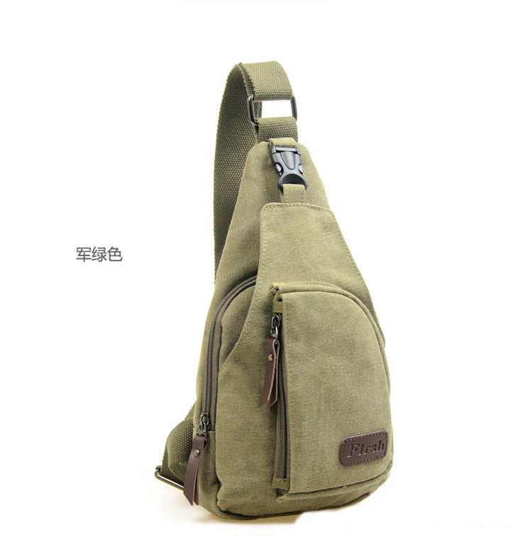 2Pcs Fashion Korea Style Amy Green Canvas Mens Satchel Chest Pack Bag