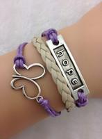 Ювелирное изделие 3pcs Purple & Khaki Antique Silver Wax Cord Bracelet Hope Butterfly Charm Bracelet Wire Bracelet Braidedgift 1680 Min order 10