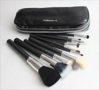 12 шт профессиональный макияж кисти косметические кисти с черный кожаный чехол