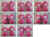 Женская футболка для футбола Top Best Quality Pink Love's Womens Jersey American Football Jerseys #39 Brandon Carr Pink Jerseys Embroidery logos
