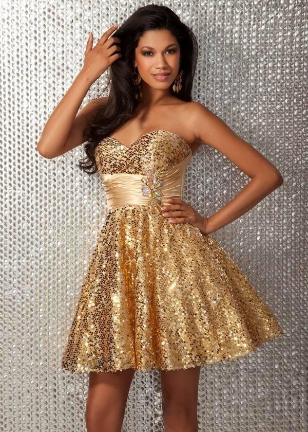 Золотые платья короткие