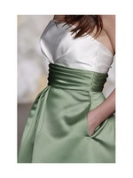 Платье для подружки невесты Bridesmaid Dresses Apple satin Strapless neckline Sleeveless Length Knee-length Hemline