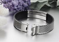 Мужской браслет HOT Sale 2013 New Fashion Jewelry Stainless Steel PU Leather Bracelets Men Glossy Silver Bangle PH757