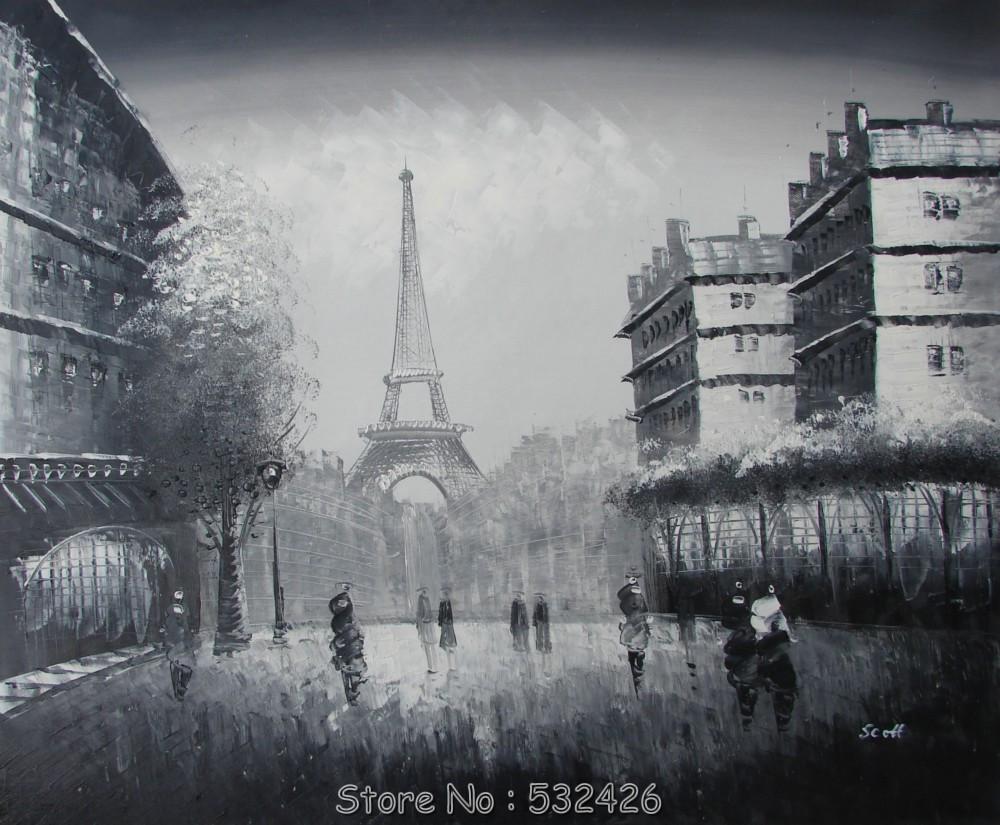 torre eiffel de paris black white dia chuvoso shoppers 20 x 24 pintado m o pintura a leo. Black Bedroom Furniture Sets. Home Design Ideas