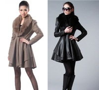 Женская одежда из кожи и замши NEW! HIGH QUALITY! luxurious black leather fox fur collar women coats jackets winter 2012