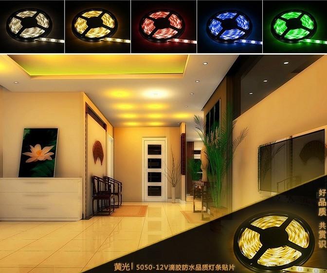 10m/lot 5050 rgb Waterproof led strip 300,DC 12V 14.4W RGB/Blue/Yellow/Red/Green/White/Warm white  Strip Light 5M free shipping