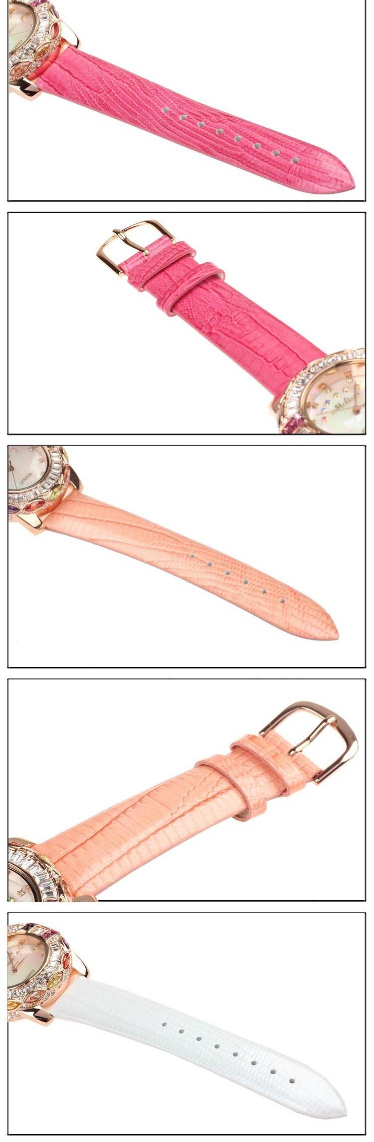 Красочные дамы наручные часы кварцевых часов Лучший Браслет Мода Марка кожа часы Роскошные Стразы блеск кубический цирконий 1546