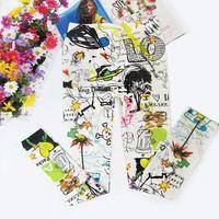 Fashion Ladies Ink Flower Print Women Rock Punk Funky Sexy Leggings Tights Pants[040228]