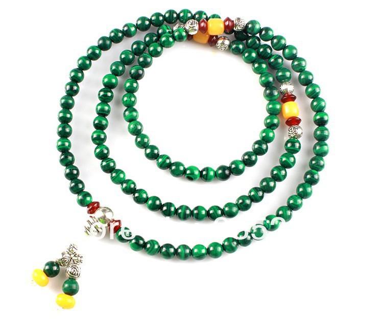Baños De Verde Malaquita:natural 108 malaquita 8 mm japa mala tibetano oración buda collar de