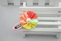2014 New Fashion baby girl Hair Accessories Pearl colorful  ribbon Flower hairpins  children hair jewelry