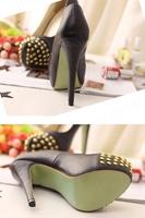Туфли на высоком каблуке Fashion Women Pu rivet Leather Stud Spike High Heel Shoes XZ019