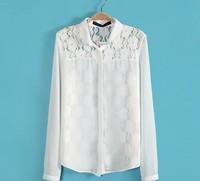 Женские блузки и Рубашки SEXY LONG SLEEVE Perspective LACE CHIFFON SHIRT BLOUSE C03043