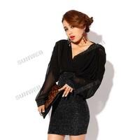Одежда и Аксессуары Black Sexy Slim Fit V-neck Chiffon Dress Long Lantern Sleeve Over-hip Mini-dress/ Evening-dress 6167