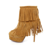 Женские ботинки New style PU leather Round Toe Solid Tassel fashion ankle boots women's wedding shoes SML 7-7 Y