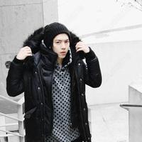 Мужской пуховик Mens Long Cotton Padded Hooded Dual Collar Zipper Snap Outwear Coat Jacket Warm 31679