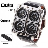 Наручные часы oulm men's quartz military wrist watch with4-movt black 25mm genuine leather band
