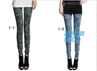 Женские джинсовые леггинсы 2012 autumn and winter wild slim snowflakes women's denim stretch leggings fashion seven styles WL001