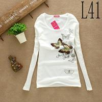 Женская футболка 2013 Fashion Long Sleeve Cotton Love T-shirts Women T Shirt Print 2 designs