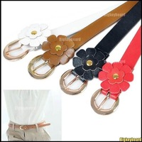 10xFashion Woman's Candy Color Big Bowknot PU Leather Thin Skinny Waistband Belt Free Shipping