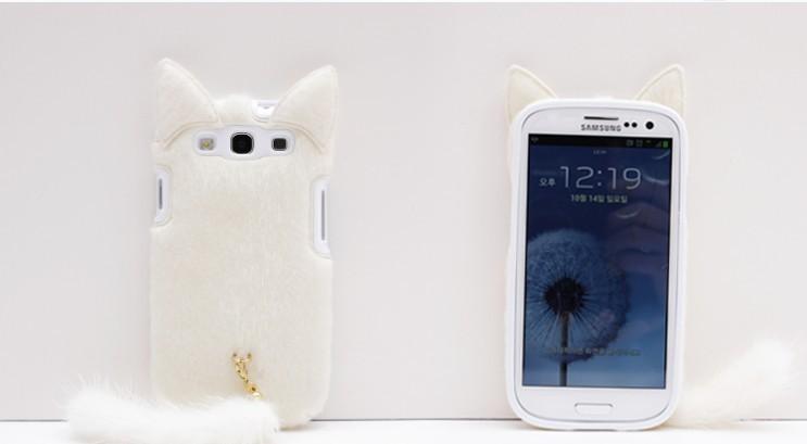 קטיפה פרווה אדום חמוד חתול זנב מקרה סיליקון מוך חזרה המקרים כיסוי עבור Samsung Galaxy S3 SIII i9300 1pcs/lot (SX25T)
