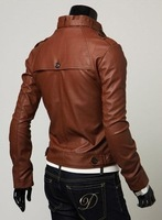 2012 fashion Classic Men's PU Leather Coat jacket  Zipper Embellished Buttons Slim-fitting Brown  Free  Shipping  MZ11083002-1