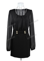 Женское платье 2013 Casual Fashion Women's Slim Round Collar Long Sleeve Slim Chiffon Dress Black, White 10127