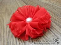 Детский аксессуар для волос vintage chiffon shabby look flower with Pearl hairclips for girls headband flower DIY Photography props 40pcs/lot