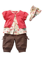 Комплект одежды для девочек 2013 new baby girl clothing sets carters original summer baby romper girl's fashion cotton toddler jumpsuit coat+headband