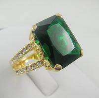 Кольцо US SIZE9 BRAND NEW MEN/LADY JEWERLY GORGEOUS 6.85CT HUGE GREEN EMERALD IN 14KT YELLOW GOLD RING