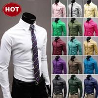 Free shipping 2013 New Mens casual Shirt Long Sleeve slim fit ,Polo shirt High grade Design cotton