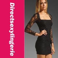Одежда и Аксессуары Black Long Sleeves Dress Party Dress Fashion Clubwear OL Dress 2013 New Women Lace Dress LC2699