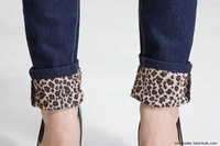 Женские джинсы 2012 new Korean slim waist leopard flanging pencil pants washed jeans 2020