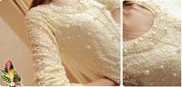 мода женщин свитер продажа жемчужное украшение женщины сексуальное платье женщины рубашку кружева длинные sleeeve дамы t рубашка