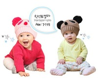 Шапка для мальчиков 2012 NEW Panda shaped Lovely Boy girl Hats, winter baby hat, Knitted caps children Keep warm hat 7 color gifts