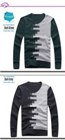 Мужской пуловер 2013 Fantastic Men's Sweater, Cotton Brief Color Block Pattern, V Neck Pullover, Men's Knitwear, ! M0015