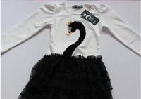 Free Shipping, 100% cotton Swan tutu baby swan dress,children little Swan dress