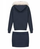 Женский костюм с юбкой 2013 European Casual Feather Hooded Sweater Coat&Short Skirt