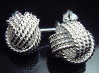 Серьги-гвоздики 925 SILVER MESH COIL EARRINGS K27