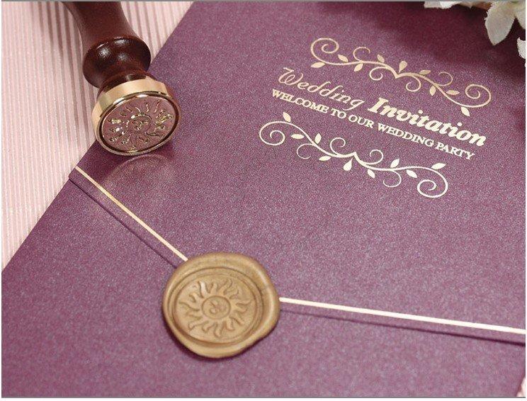 color purple Card size 13 19cm 250gsm fancy paper gold color wood seal