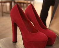 Туфли на высоком каблуке suede round head OL shoes female high-heeled shoes black/yellow/grey/red size: 35 - 39 code