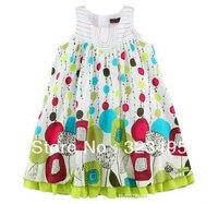 Freeshipping retail  girl princess dress catimini Printed Dress 100%cotton  lovely kids dress children clothing